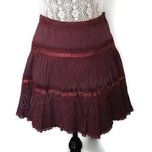 Vintage Billabong Tiered Lace & Satin Mini Skirt
